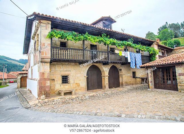 Facade of traditional house. Barcenillas, Cantabria, Spain