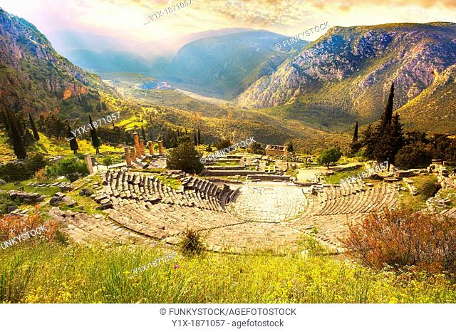 4th century BC theatre of Delphi, archaeological site, Greece