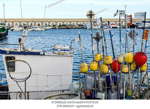 A buoys view in a boat, Carboneras port, Almería province, Spain