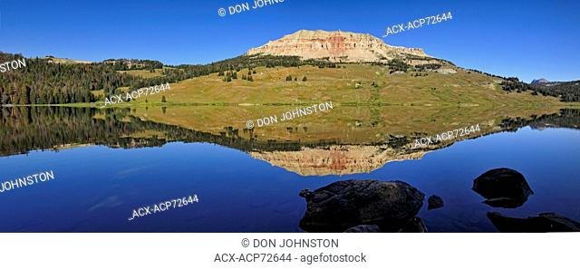 Beartooth Butte Reflections in Beartooth Lake, Beartooth Lake Campground, WY, USA