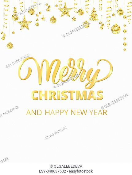 merry christmas card with hand written lettering holiday background with sparkling typography golden glitter