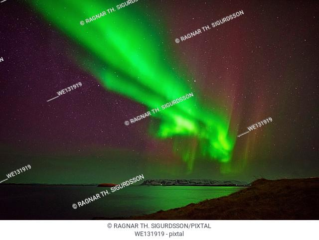 Aurora Borealis or Northern Lights, Stykkisholmur, Snaefellsnes Peninsula, Iceland