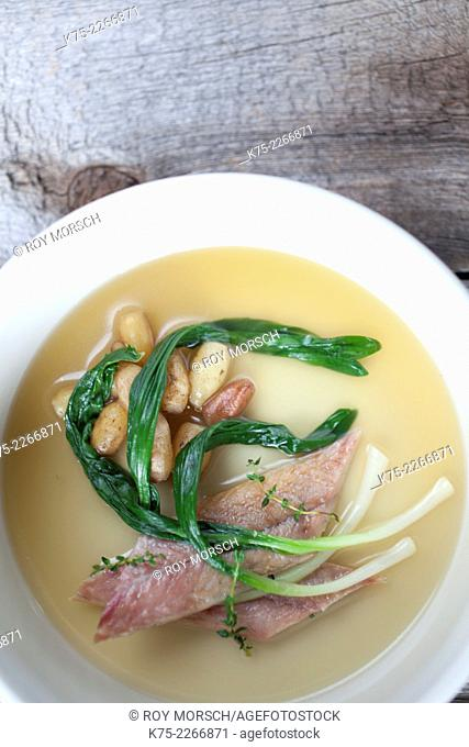 Smoked Eel with Daylily Tubers and Ramps in Broth