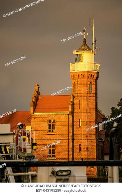 Old lighthouse in golden evening lighting