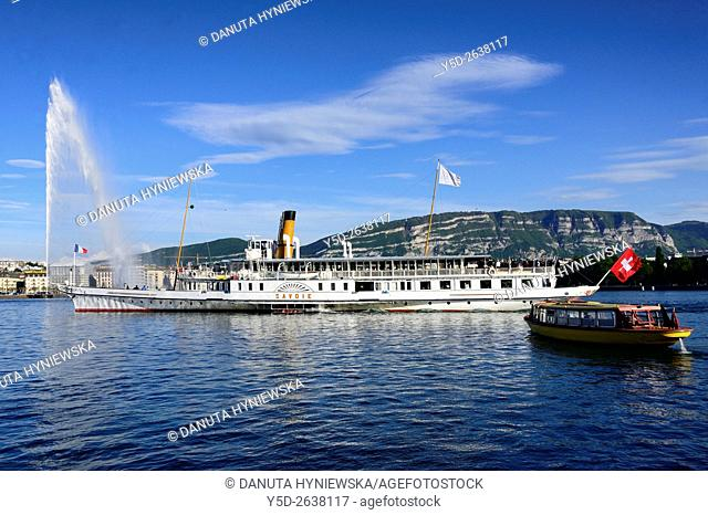 Landscape of Geneva, steamboat 'Savoie' on Lake Geneva, famous fountain on the lake - Jet d'Eau, yellow water tram 'Mouette Genevoises'