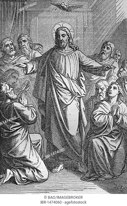 Christ gives His Spirit to the Apostles, historic steel engraving from 1860