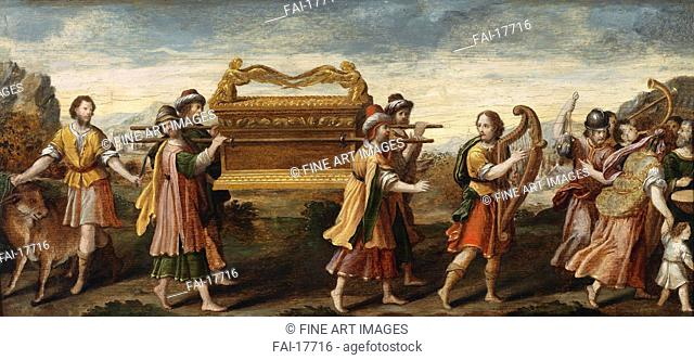 King David bearing the Ark of the Covenant into Jerusalem. Italian master . Oil on wood. Renaissance. Early16th cen. . Private Collection. 37,6x82