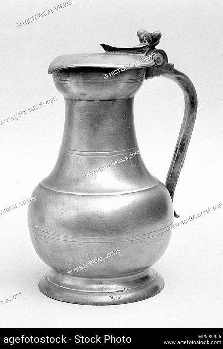 Pitcher. Maker: Pierre Malmouche (French, active Le Mans, 1747-64); Date: 1747; Culture: French, Le Mans; Medium: Pewter; Dimensions: Overall: 8 7/8 x 6 1/4 x 5...