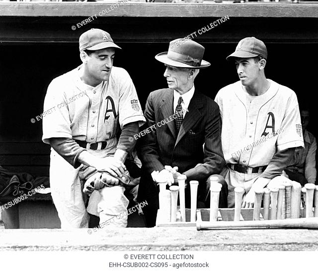 Philadelphia Athletics manager Connie Mack with Phil Marchildon (L) and Russell Christopher. Marchildon joined Royal Canadian Air Force as a tail gunner