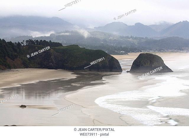 View of sea stacks at Cannon Beach. Northern Oregon coast, USA