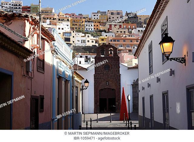 Alley in the historic centre, Nuestra Senora de la Asunción Church, San Sebastián de la Gomera, Canary Islands, Spain, Europe