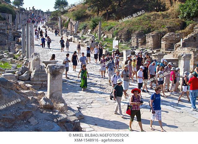 Tourists in Curetes Way  Ruins of Ephesus  Izmir province  Anatolia, Turkey