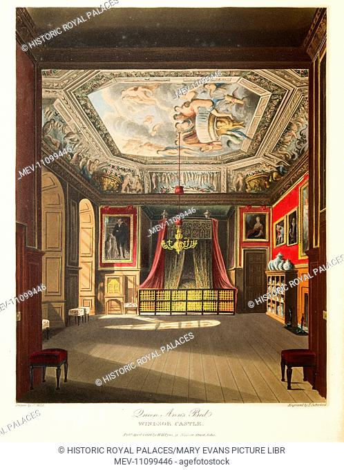 The room depicted here is the King's Eating Room where Queen Anne's State Bed was displayed. The ceiling painting by Antonio Verrio shows the Banquet of the...