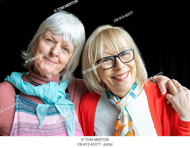 Portrait smiling, confident senior women friends