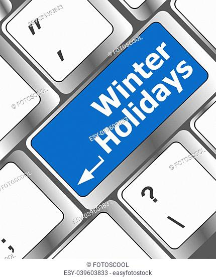 Computer keyboard key with winter holidays words