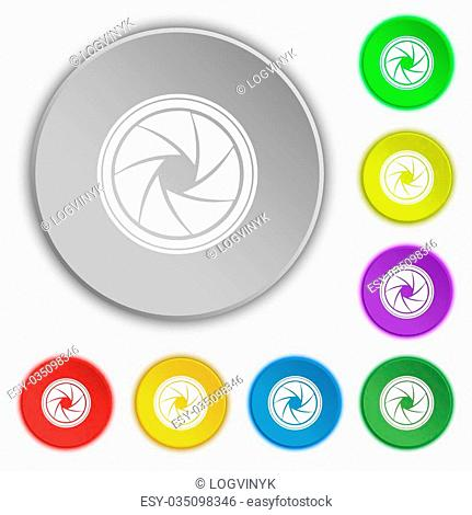 diaphragm icon. Aperture sign. Symbols on eight flat buttons. Vector illustration