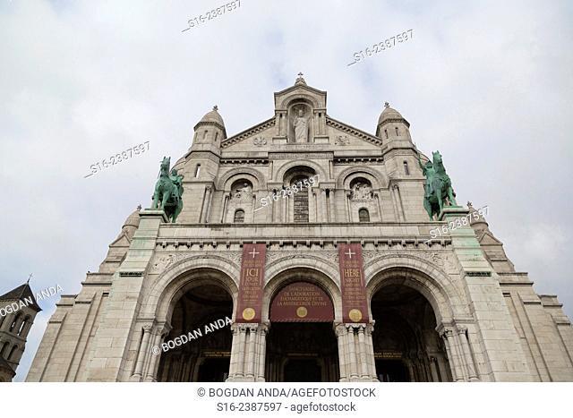 Paris, Montmartre, France - Front view of Sacre-Coeur Basilica