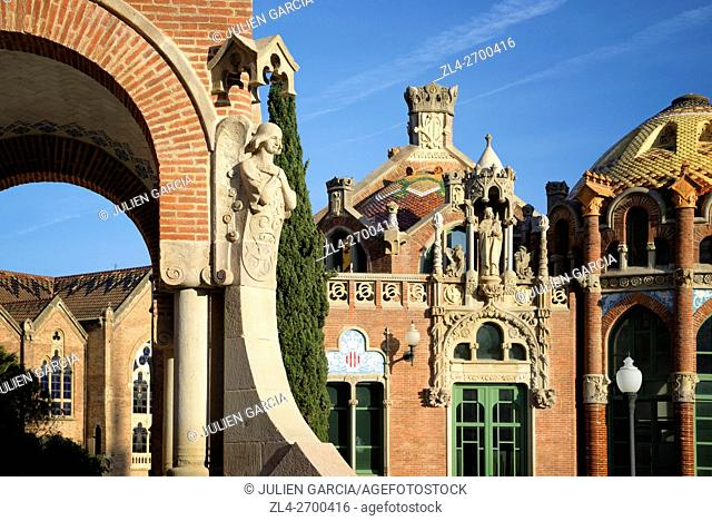 Spain, Catalonia, Barcelona, El Guinardo, Sant Pau Hospital designed in 1901 by Catalan modernist architect Lluis Domenech i Montaner