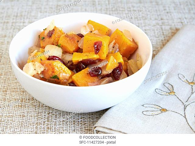 Roasted butternut squash with dried cranberries and sweet onions