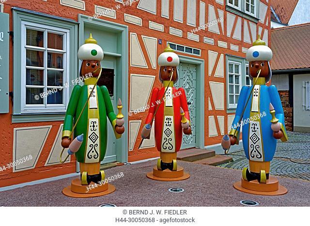 Räuchermänner, half-timbered house, Michel Stadt Deutschland