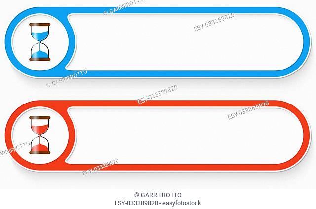 Blue and red vector abstract buttons and sand glass icon