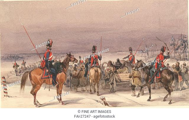 Cossacks convoying deportees by Anonymous /Watercolour on paper/History painting/1831/France/Private Collection/13,9x24,3/History/Graphic arts/Kosaken konvoiren...