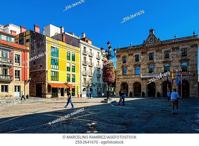 Main Square - Plaza Mayor - and City Hall, Cimadevilla, Gijón, Asturias, Spain, Europe