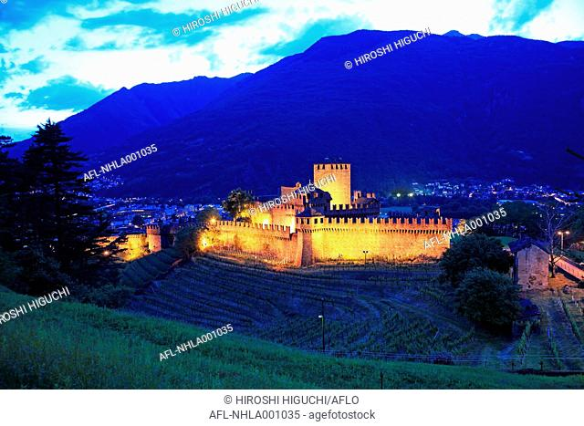 Switzerland, Canton Ticino, Bellinzona, Castello Montebello, UNESCO World Heritage