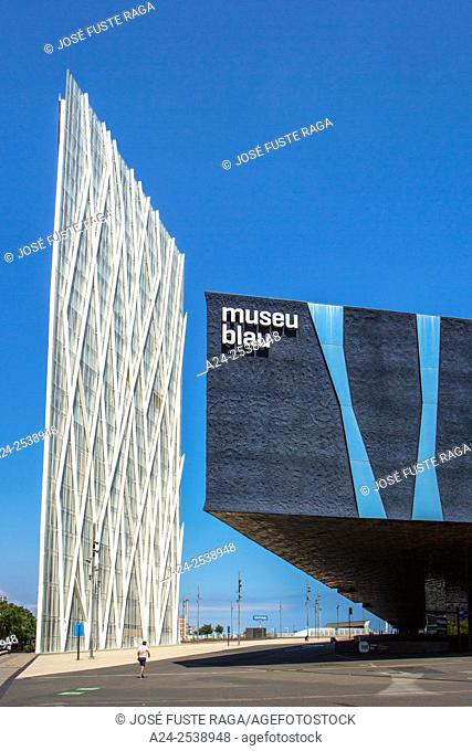 Spain, Catalonia, Barcelona City, Forum Building and Telefonica tower