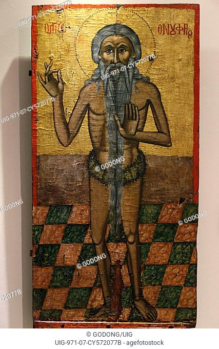 Icon in Pedoulas Byzantine museum : Saint Onoufrios (17th century)