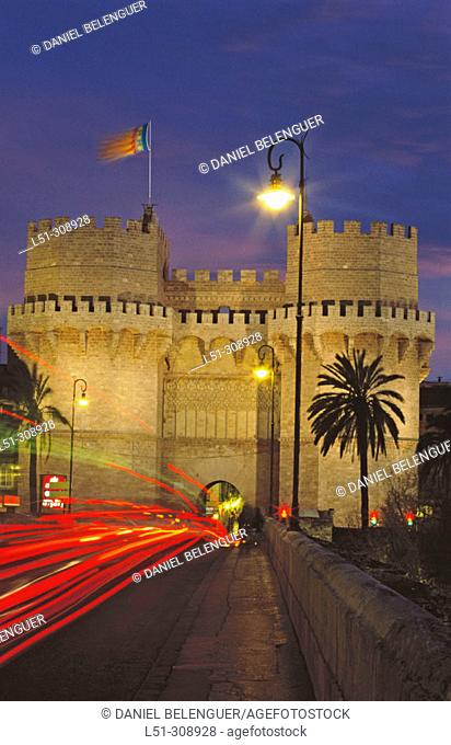 Torres de Serranos, part of the old city walls built in the 14th century. Valencia. Spain