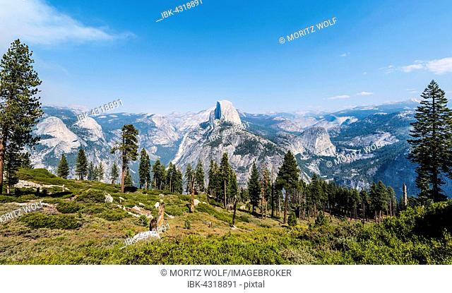 View into Yosemite Valley, Half Dome, Yosemite National Park, California, USA