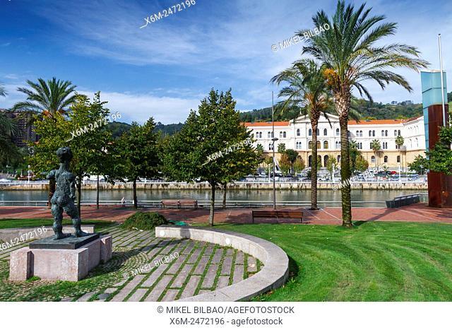 Abandoibarra promenade and University of Deusto. Bilbao. Biscay, Spain, Europe
