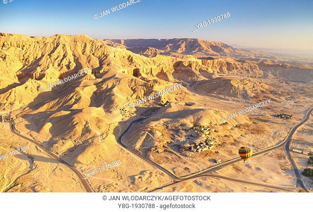 Egypt - balloon flights over the west bank of the Nile, landscape of mountains, Upper Egypt
