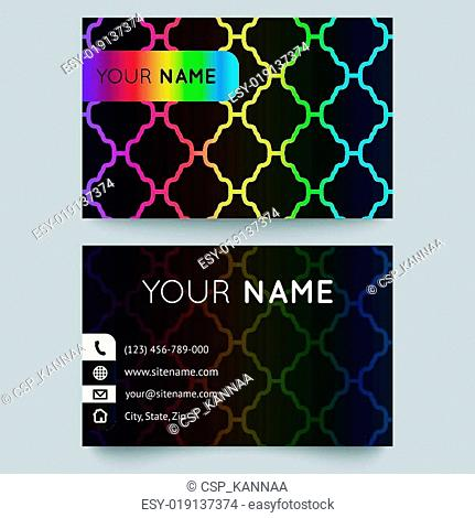 Business card template, bright elegant pattern on black background