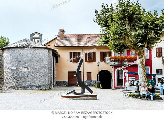 San Giorgio square, main square on a sunny day. Varenna, Province of Lecco, Lombardy, Italy, Europe