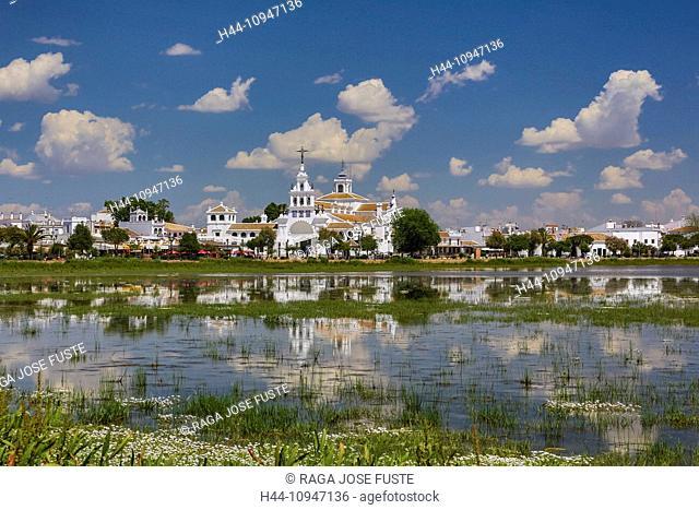 Spain, Europe, Andalucia, Region, Huelva, Province, El Rocio Hermitage, near Coto de Dona Ana, Huelva, architecture, church, colourful, famous, flowers