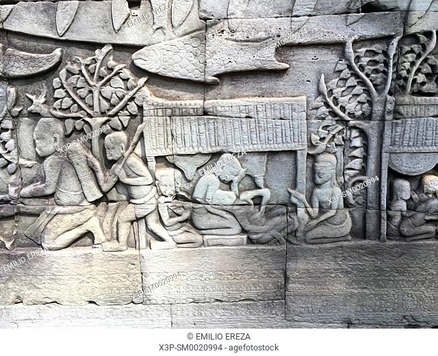 Relief in Angkor Thom, Bayon temple, Cambodia