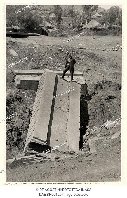 Fragment of a stele, Axum, Ethiopia, photograph by Ugo Monneret de Villard, 1937