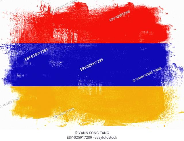 Flag of Armenia painted with brush on solid background