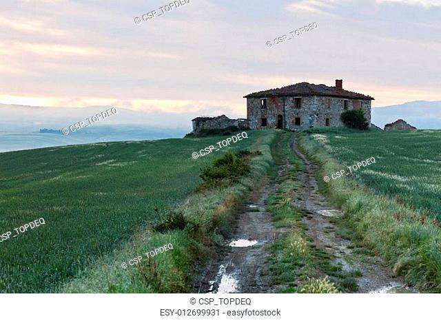 Abandoned Farmhouse in Tuscany at sunrise