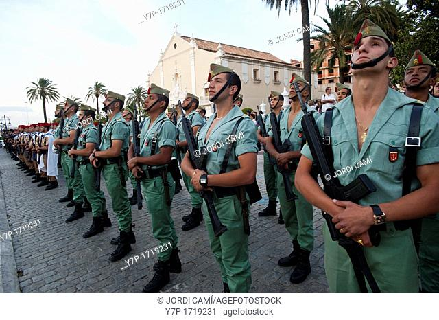 Legionary regiment in a military parade in Ceuta Spanish enclave on the North African coast Spain