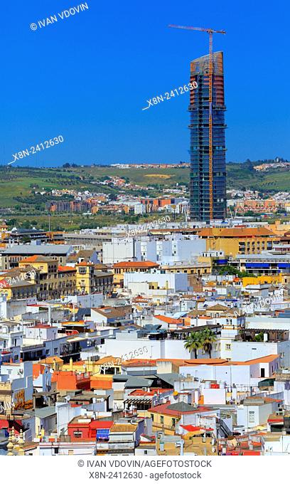 Cajasol Tower, Cityscape from La Giralda Tower of Cathedral, Seville, Andalusia, Spain
