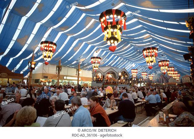 Beer tent at public festival Cannstatt Stuttgart Baden-Wurttemberg Germany