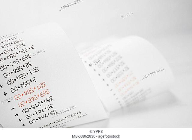 Bill, Registrierstreifen, detail rake-machine, desktop computers, calculators, expression, control-strips, listing, amounts, sum, numbers, digits, prices