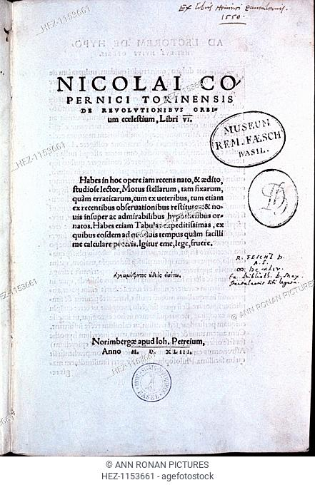 Copernican heliocentric system of the universe Stock Photos and