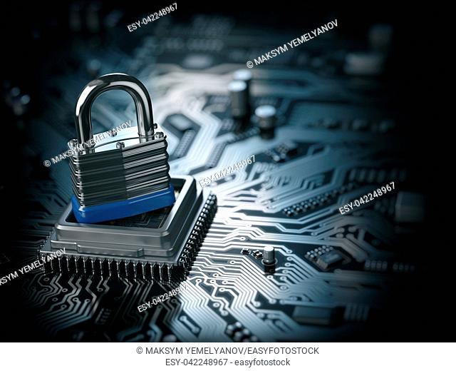 Padlock on CPU computer circuit board. Lock over the motherboard. Network security concept. 3d illustration