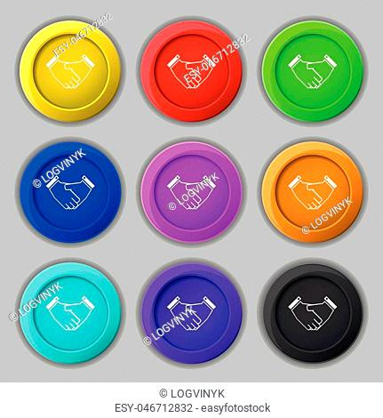 Handshake icon sign. symbol on nine round colourful buttons. Vector illustration