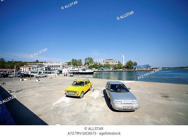 YELLOW LADA CAR ARTILERY BAY HARBOUR; SEVASTOPOL, CRIMEA, UKRAINE; 30/04/2008