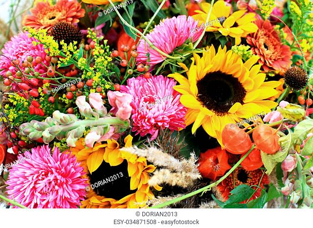 Gorgeous colorful bouquet of flowers with berries